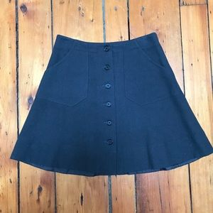Gray Wool Blend Skirt w/ Full Button Front